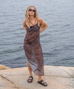 Midi beach dress Animal HKM x NA-KD, Brown