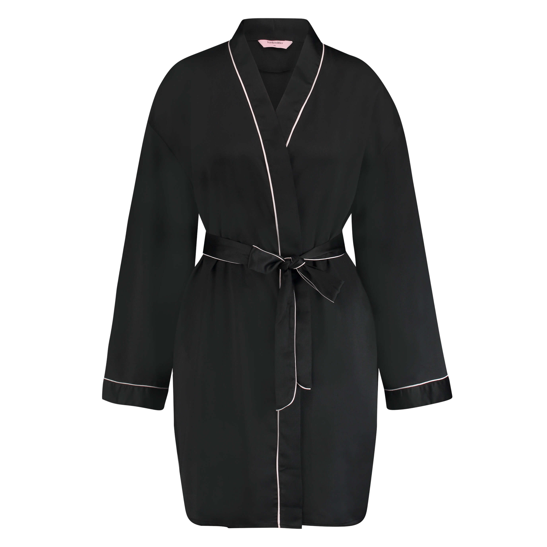 Satin Kimono, Black, main
