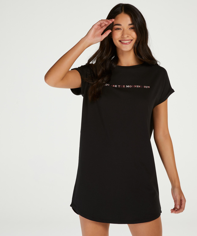 Round Neck Nightshirt , Black, main