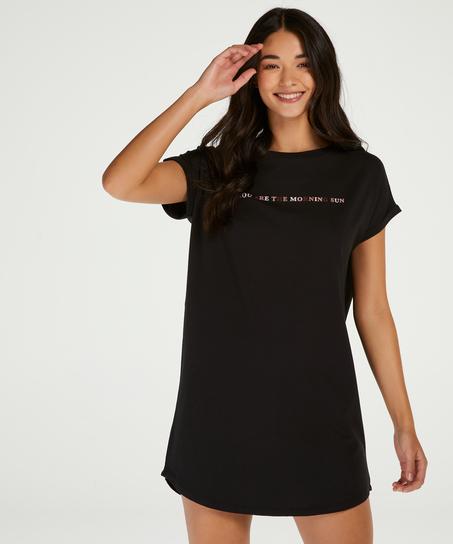 Round Neck Nightshirt , Black