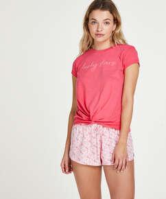 Short sleeve Jersey Knot pyjama top., Red