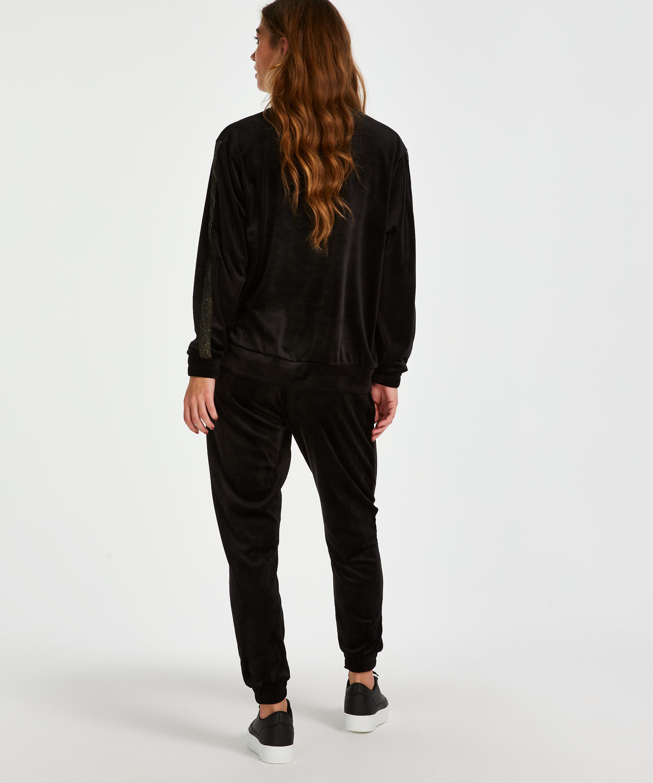 Velvet Lurex jogging bottoms, Black, main