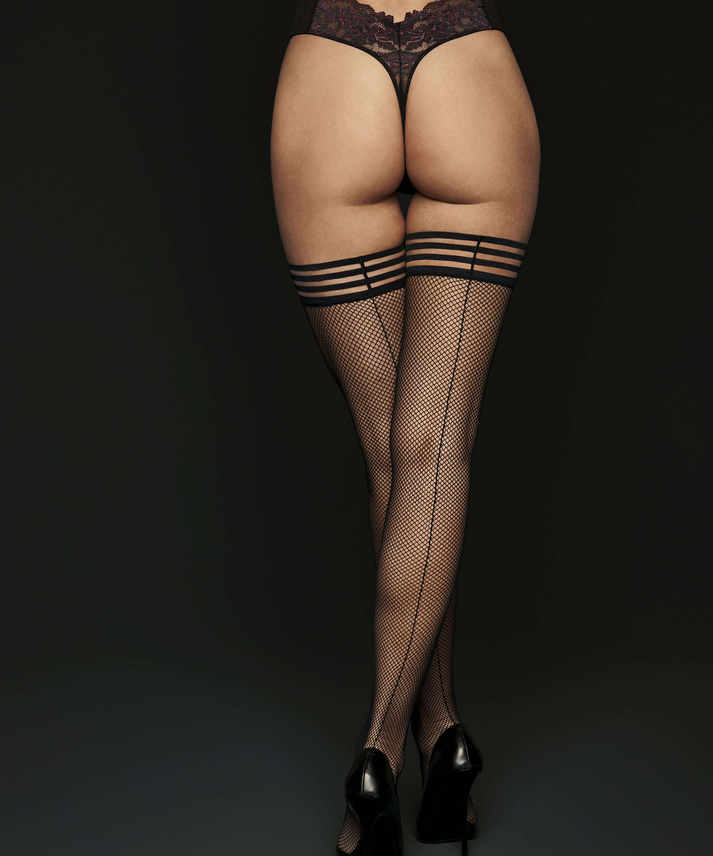 Private Striped Top Fishnet Hold-Ups, Black, main