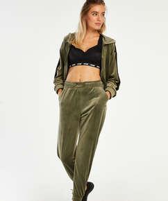HKMX High waisted jogging pants Velours Malila , Green