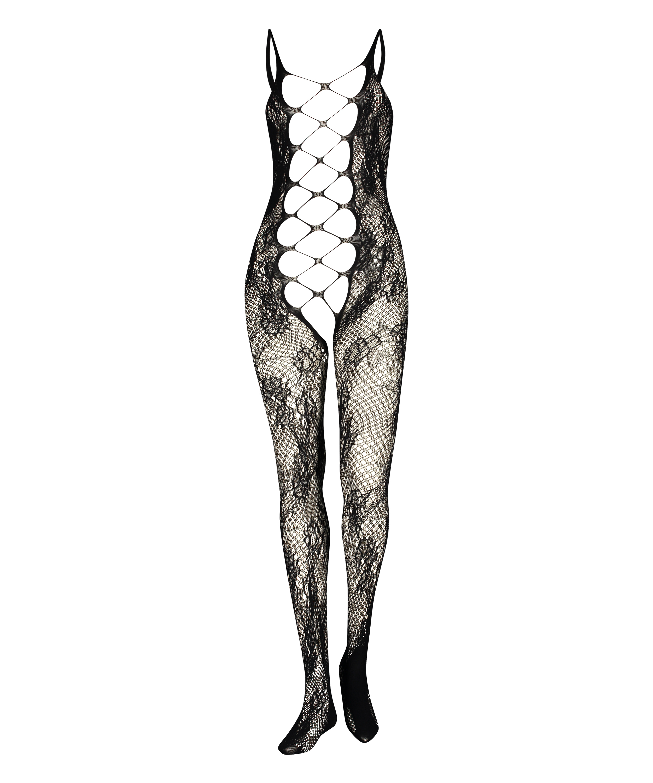 Private Open Lace Catsuit, Black, main
