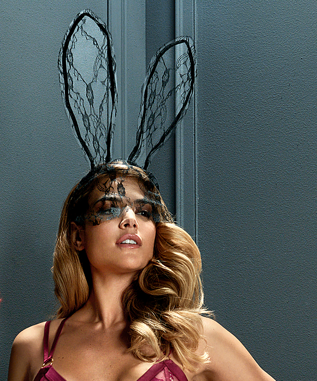 Private Lace Bunny Mask, Black, main