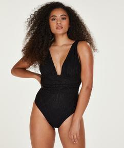 Crochet swimsuit, Black