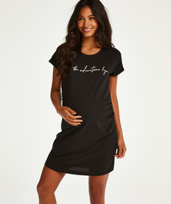 Short-Sleeved Maternity Nightshirt, Black