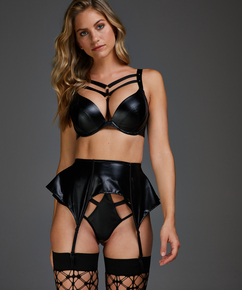 Private leather-look suspenders, Black
