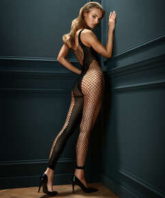 Private Ribbed catsuit with open crotch, Black
