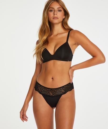 Lace Thong Boxers, Black
