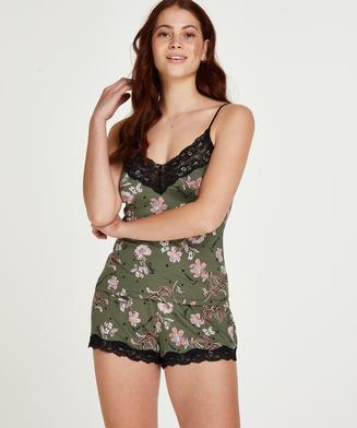 Flower Words Pajama Set, Green