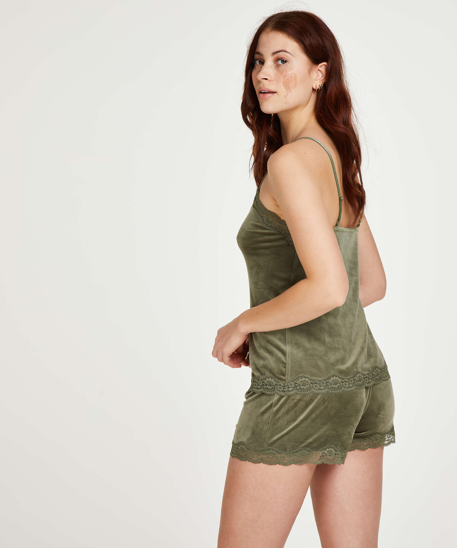 Velvet lace cami, Green, main