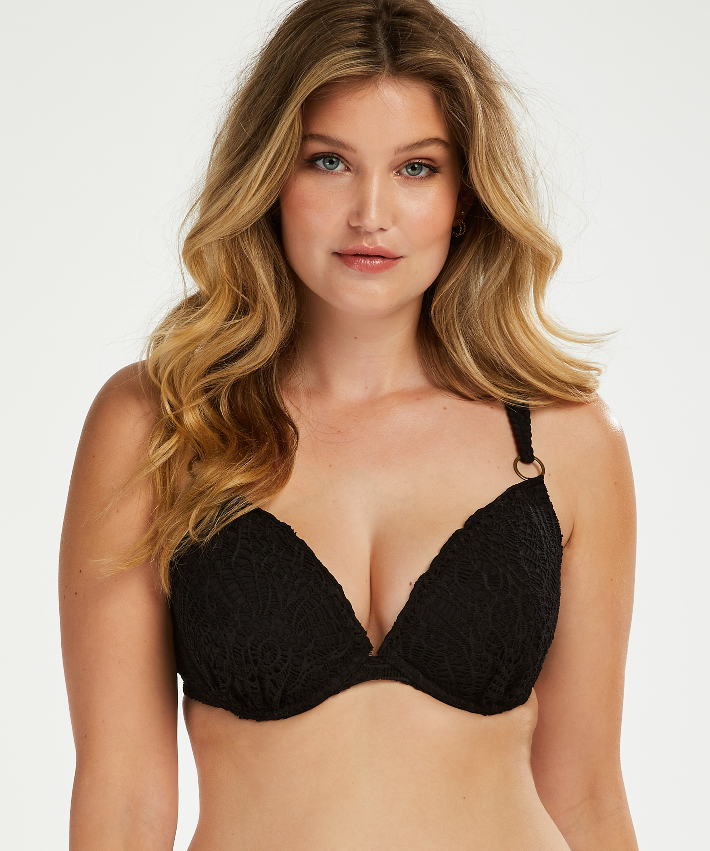 Crochet padded underwired bikini top, Black, main