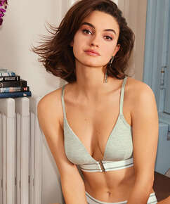 Casey cotton padded triangle bralette, Grey