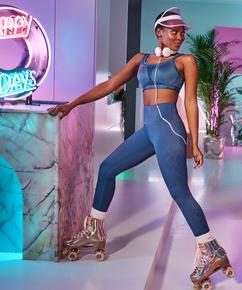 HKMX High waisted cropped sports leggings Naira, Blue