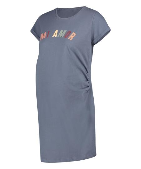 Short-Sleeved Maternity Nightshirt, Blue