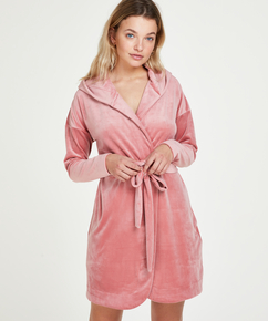 Velours short bathrobe, Pink