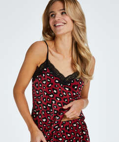 Velvet lace cami, Red