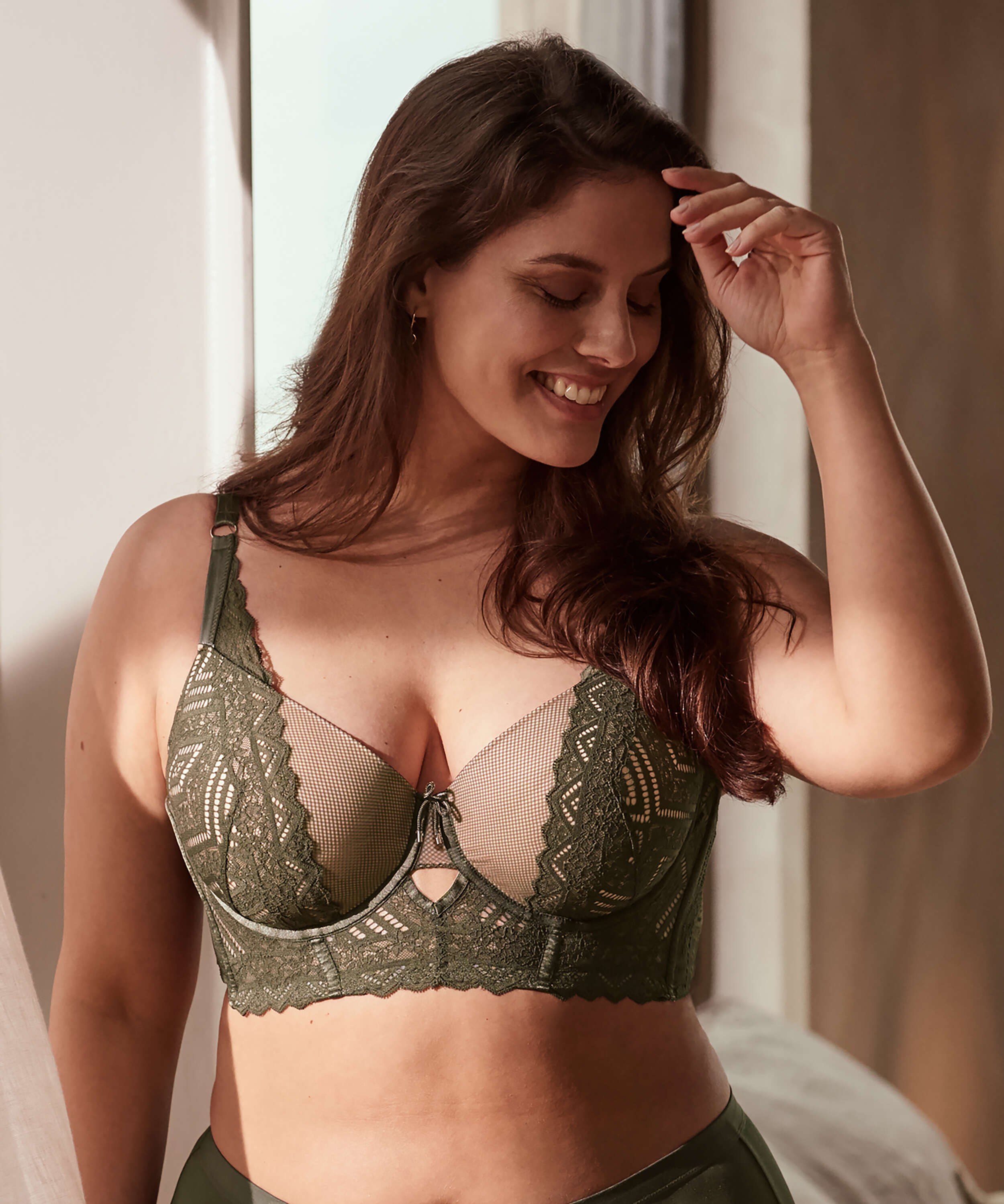Rabella padded longline underwired bra I AM Danielle, Green, main