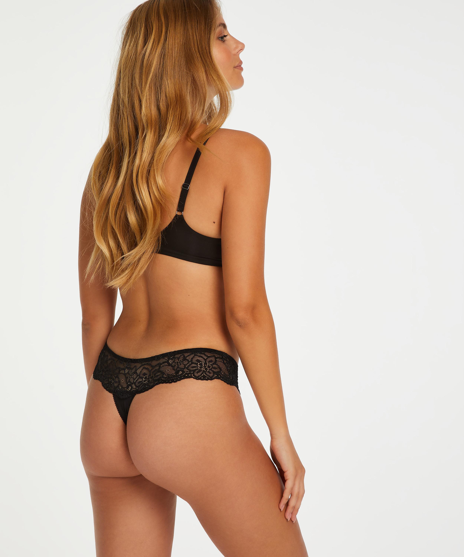 Lace Thong Boxers, Black, main