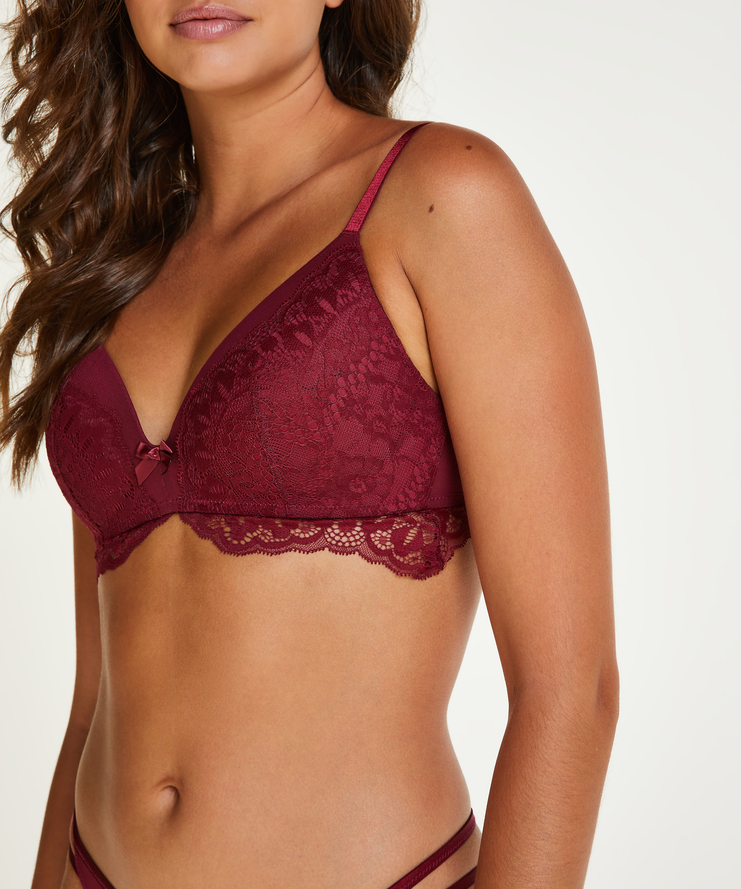 Tia Padded Non-Wired Bra, Red, main