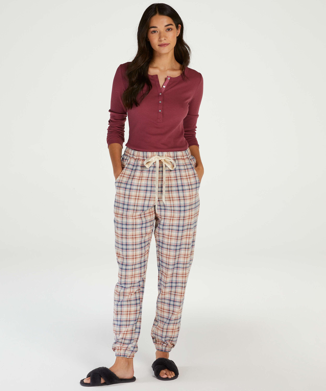 Check Pyjama Pants, Beige, main