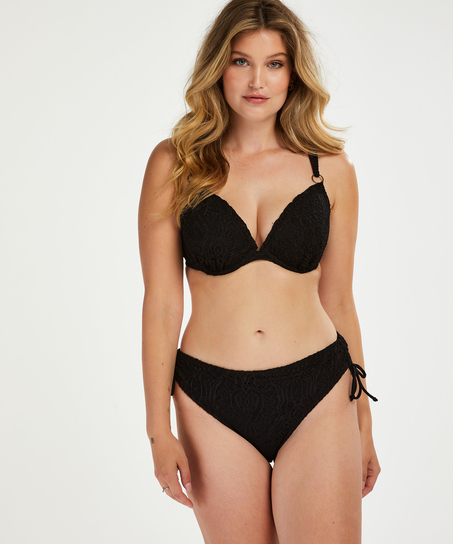 Crochet padded underwired bikini top, Black