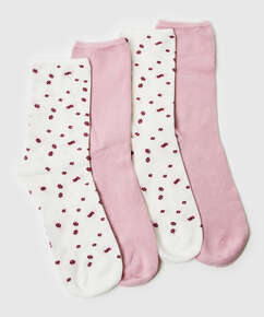 2 pairs of socks Floral Soft Touch, White