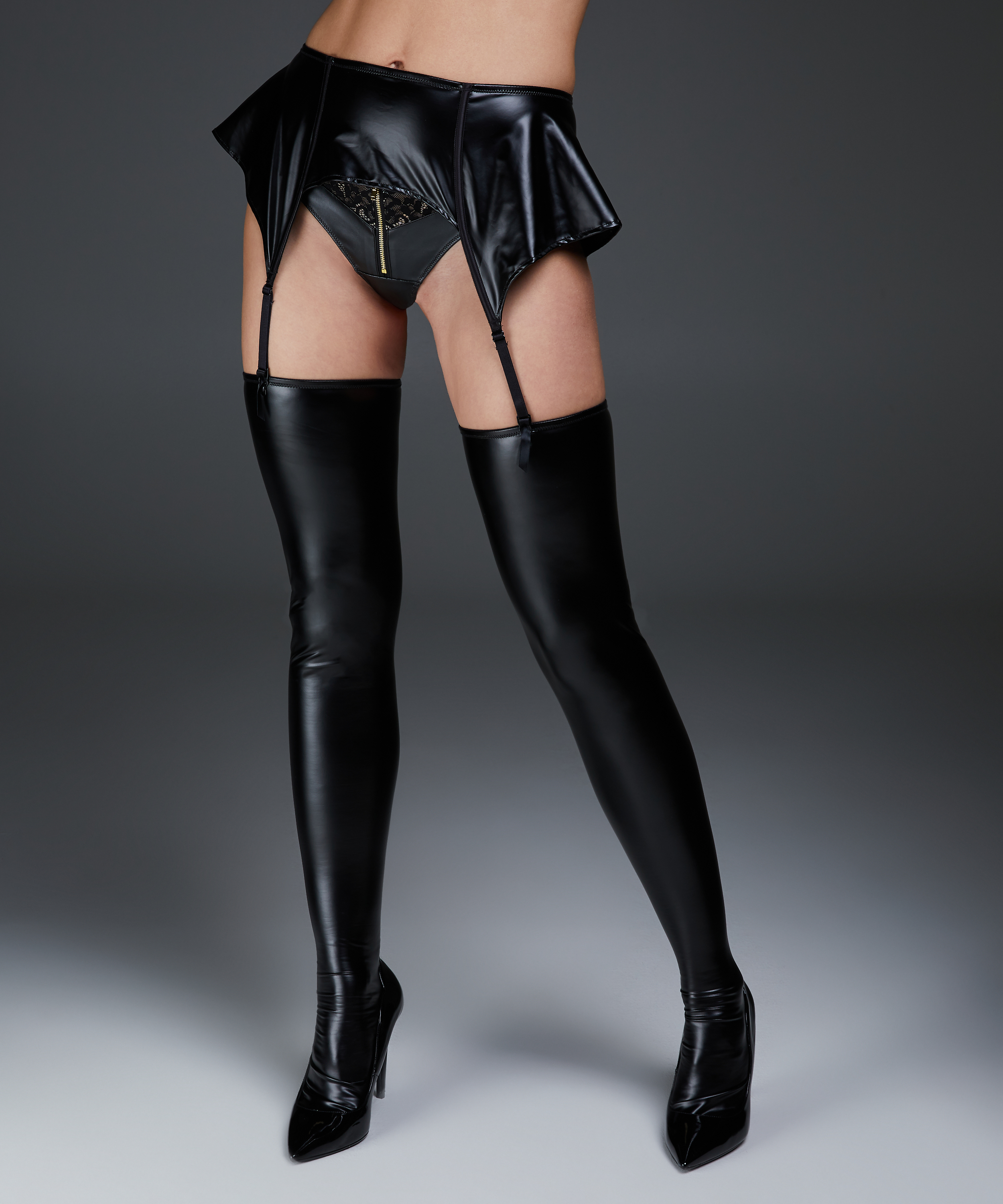 Leather-look private stay-ups, Black, main