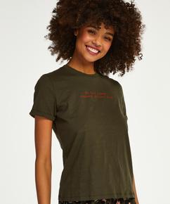 Short-sleeved, Round Neck Pyjama Top, Green