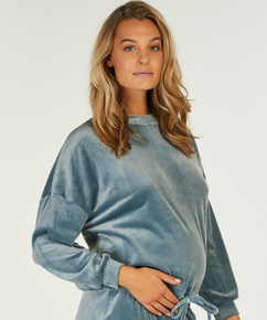 Velvet maternity top, Blue