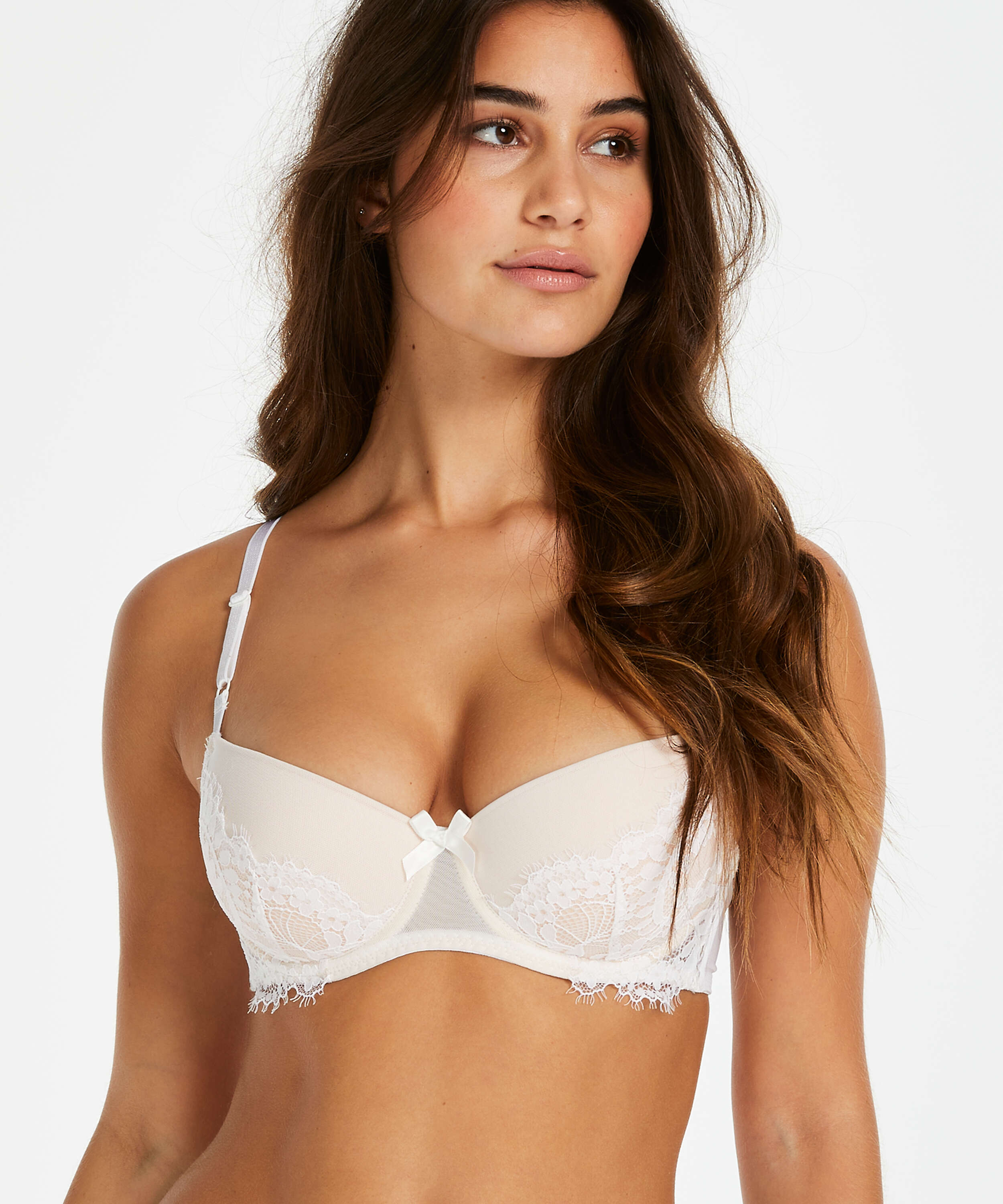 Leyla padded underwired bra, White, main