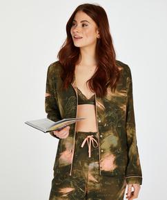 Twill Long-sleeved Pyjama Top, Green