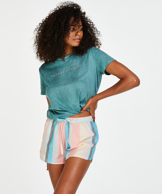 Chambray stripe pyjama shorts, Pink