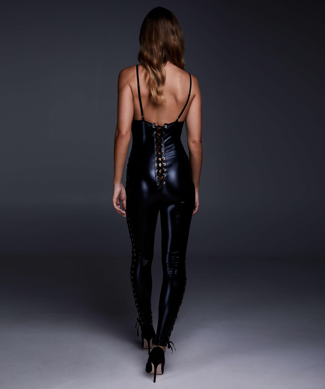Mesh lace-up catsuit, Black, main