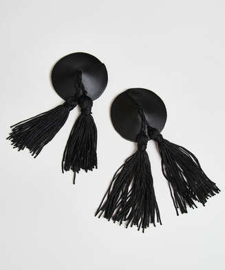 Tassel private nipple cover, Black