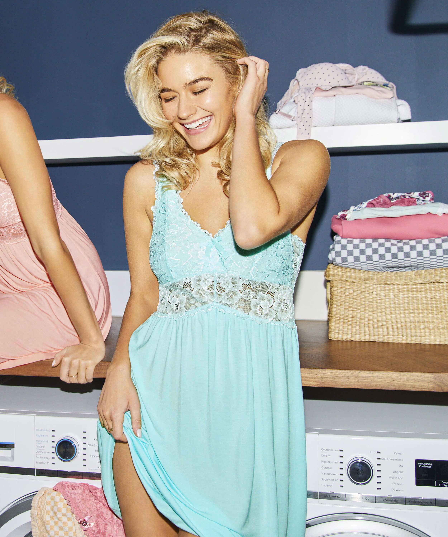 Modal Lace Slip Dress, Blue, main