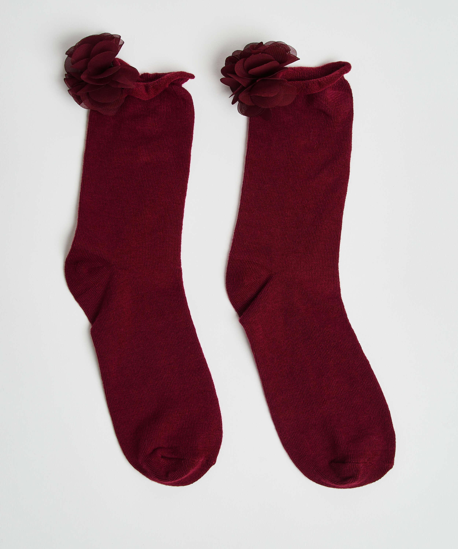 Flower socks, Red, main