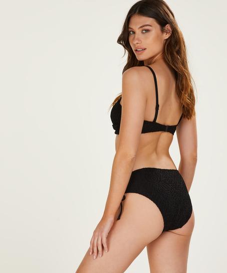 Crochet padded bandeau bikini top, Black