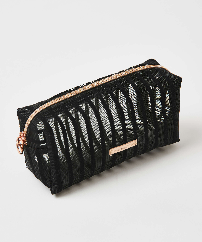 Striped Mesh Make-Up Bag, Black, main