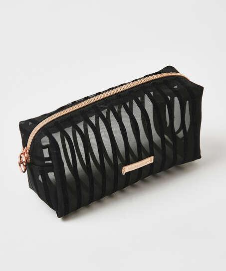 Striped Mesh Make-Up Bag, Black
