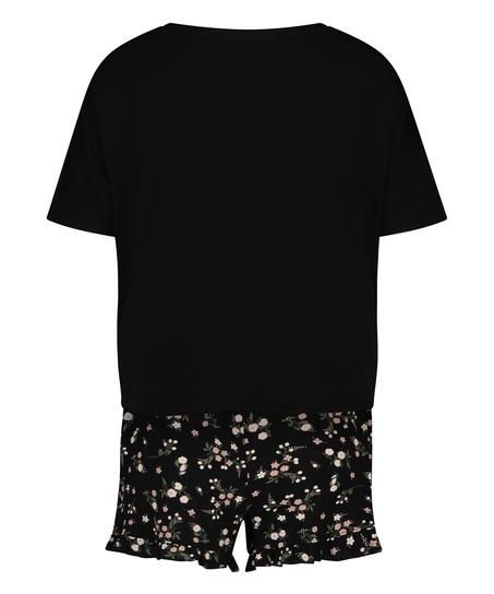 Ditzy Flower short pyjama set, Black