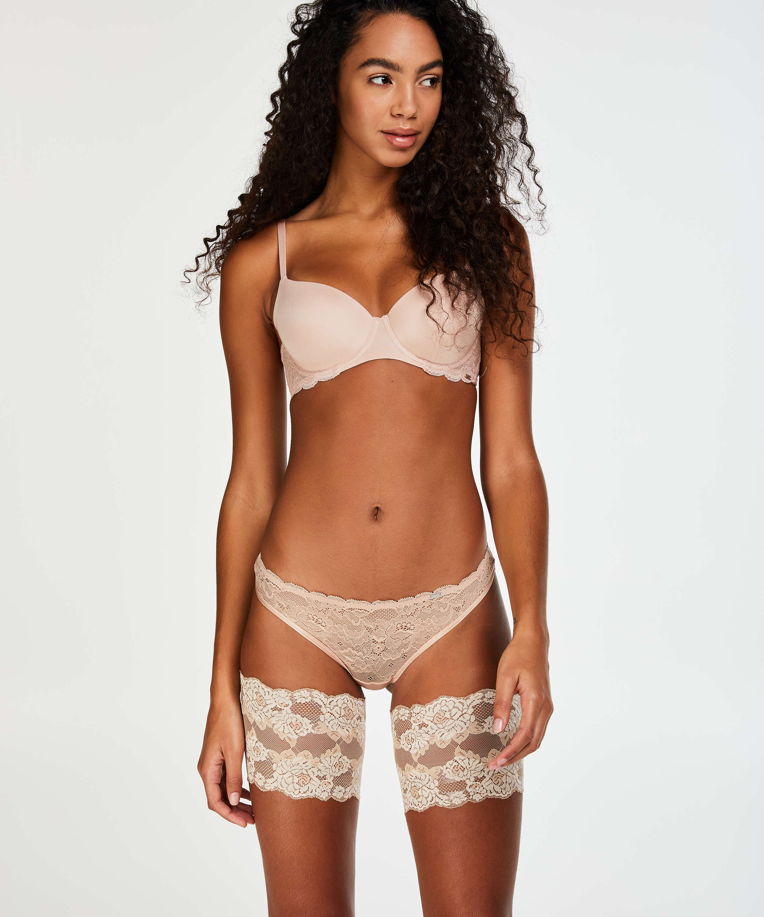 Lace thigh bands, Beige, main