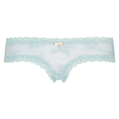 Floral Mesh V-shaped Brazilian Knickers, White