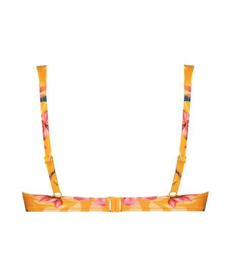 Orchid padded underwired bikini top, Yellow