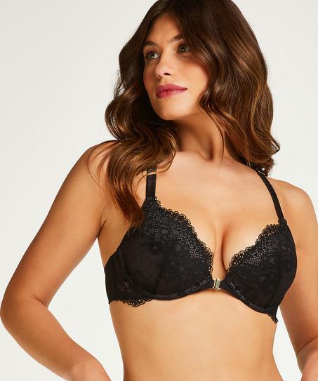 Raine padded underwired push-up bra, Black