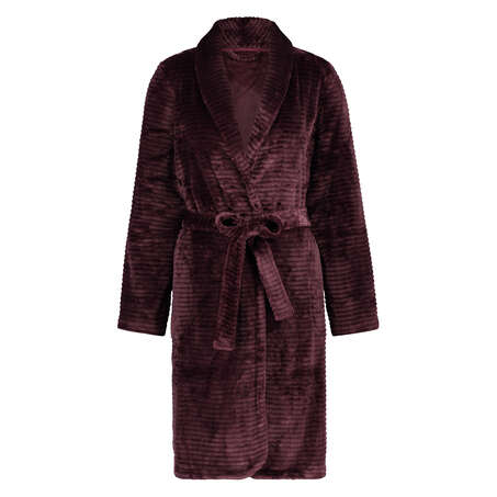 Short Fleece Ribbed Bathrobe, Red