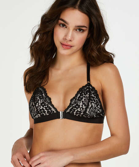 Rose Padded Triangle Bralette, Black