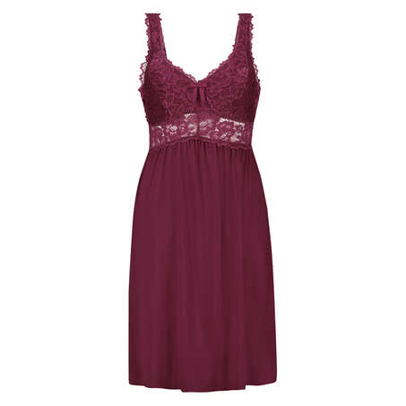 Modal Lace Slip Dress, Red